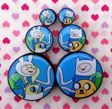 PAIR of Cartoon Adventure Couple Ear Plugs Tunnels Gauges- 8mm - 30mm
