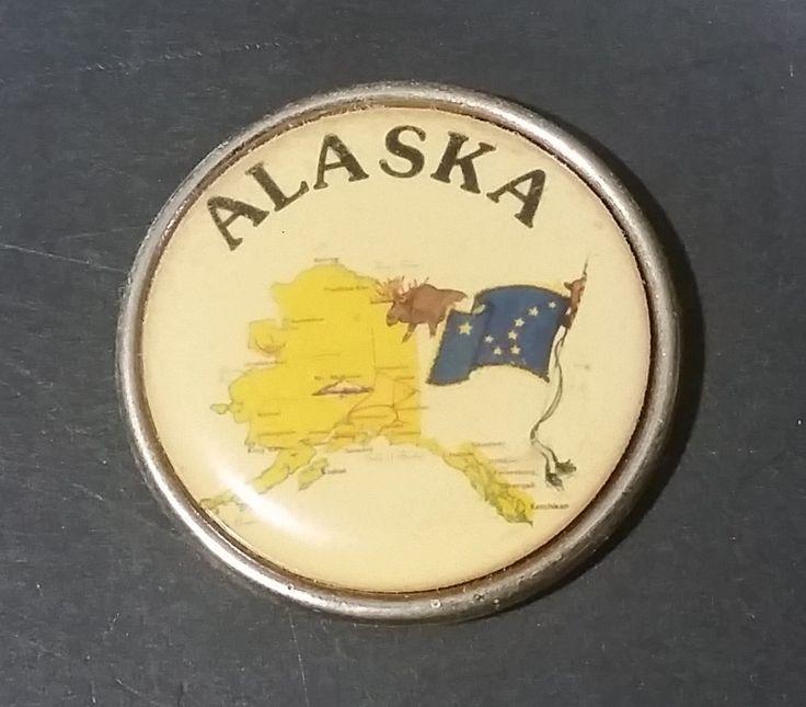 Vintage Alaska Small Round Souvenir Fridge Magnet w/ Blue State Flag https://treasurevalleyantiques.com/products/vintage-alaska-small-round-souvenir-fridge-magnet-w-blue-state-flag #Vintage #Alaska #State #Alaskan #Small #Round #Souvenirs #Fridge #Refrigerator #Magnets #Collectibles #StateFlag #USA #Travel #Tourism #Travelling #Memorabilia #North #Pacific #America