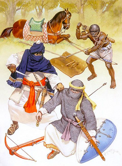 Andalus & Magrib under the Murabitun, late 11th to mid-12th century: • Murabit cavalryman, early 12th century  • Andalusian crossbowman, early 12th century  • Afro-Saharan archer, early 12th century