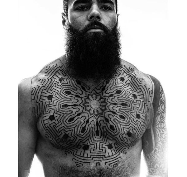 Tribal Male Chest Tattoos Designs