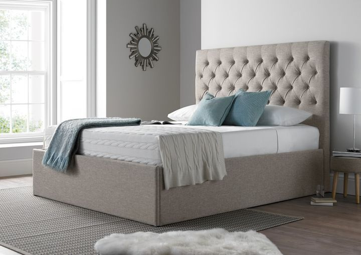 Style Up Your Room With Hebrew King Size Bed With Customizable Storage In Beige Fabric By Covaa Ottoman Storage Bed Bed Frame With Storage Upholstered Ottoman