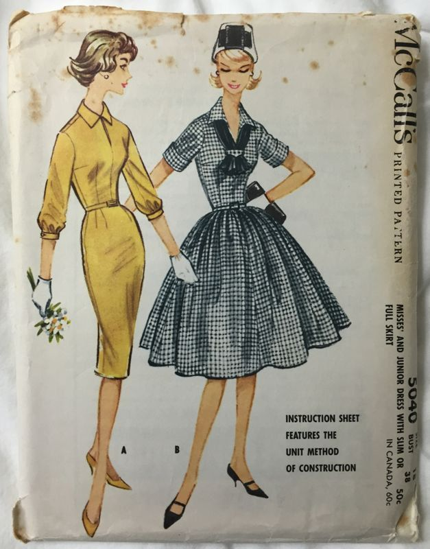 McCalls 5040 1950s Full or Pencil Skirt Dress Vintage Sewing Pattern Bust 38 by EmSewCrazy on Etsy