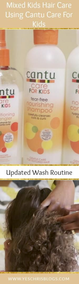 Mixed kids hair care using Cantu Care For Kids Line