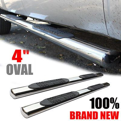 "4"" Oval Chrome Nerf Bars For 2015-2016 CHEVY COLORADO CREW CAB Stainless Steel"