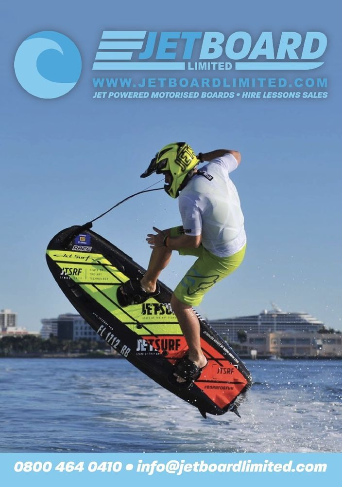 JetSurf. Jet powered motorised boards. Hire, Lessons, Sales. £150 for 1 hour.