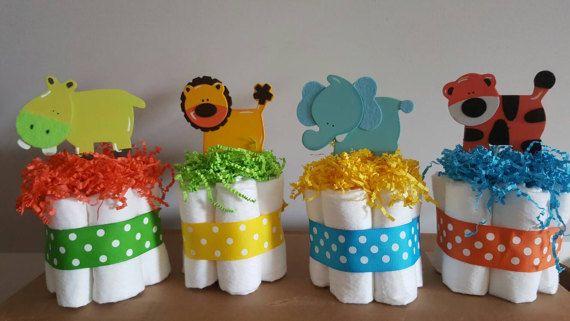 4 tortas de pañales mini de zoológico de selva bebé ducha