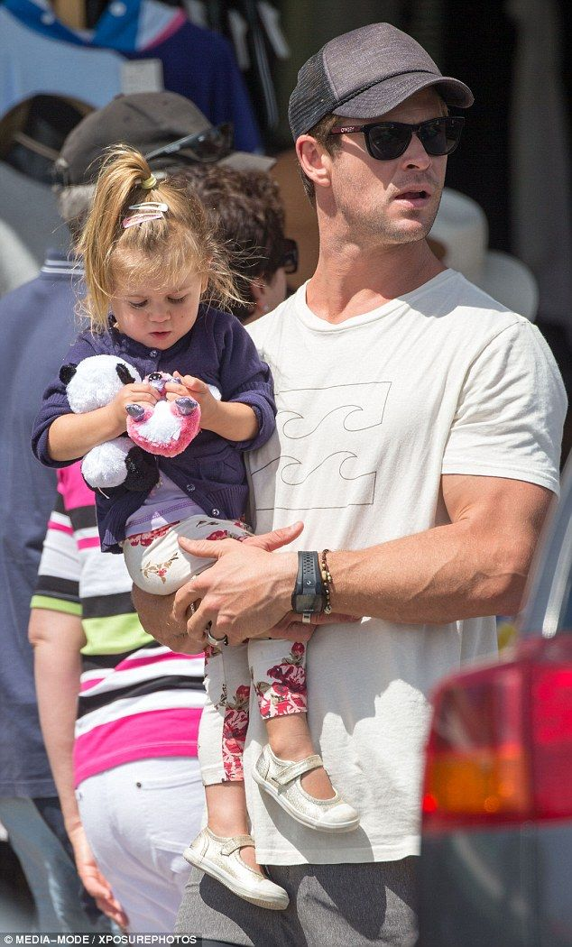 Father and daughter:Australian actor Chris Hemsworth was quite the doting dad last week as he spent some time with his family in Byron Bay, including two-year-old daughter India Rose
