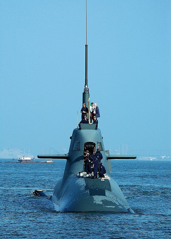 NORFOLK, Va. (August 1, 2008) The Italian submarine ITS Salvatore Todaro (S 526) arrives at Naval Station Norfolk to begin a 13-day port visit after participating in Joint Task Force Exercise (JTFEX) with the Theodore Roosevelt Carrier Strike Group. Todaros participation in JTFEX and follow-on port visit is a historic first for the Italian Navy, representing the first time since World War II that an Italian submarine crossed the Atlantic Ocean westward.