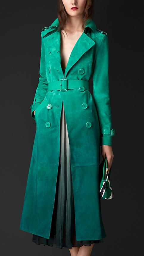 Bright peacock green Dégradé Suede Trench Coat with Patent Trim - Image 1