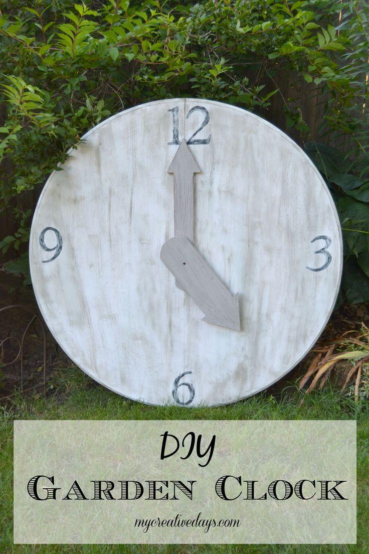 DIY Garden Clock made from upcycled table top. MyCreativeDays.com