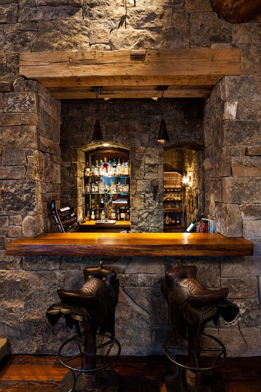 Foxtail Residence Big Sky Log Cabin Bar Home Bar