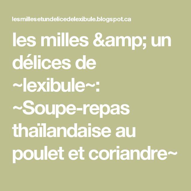 les milles & un délices de ~lexibule~: ~Soupe-repas thaïlandaise au poulet et coriandre~