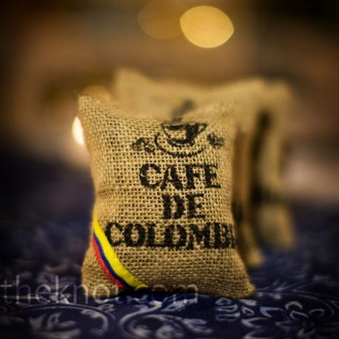Coffee and Chocolate Favors: Guests were treated to mini bags of Colombian coffee beans and small boxes filled with traditional Brazilian truffles.  Coffee from Karl at deluxe coffee??