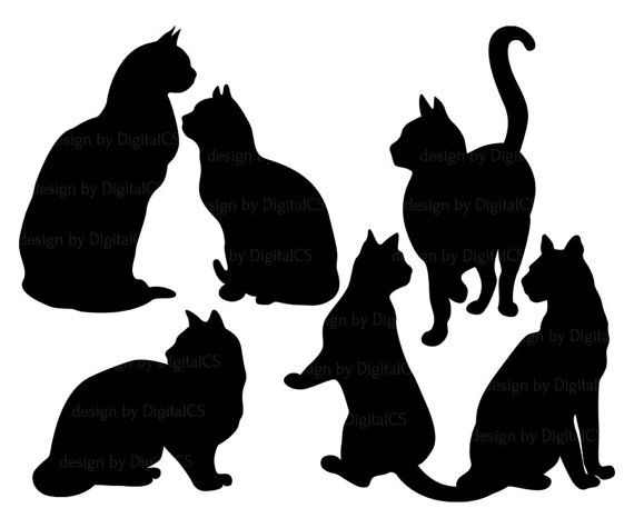 Cat clipart Black cat clip art digital PNG Commercial by DigitalCS