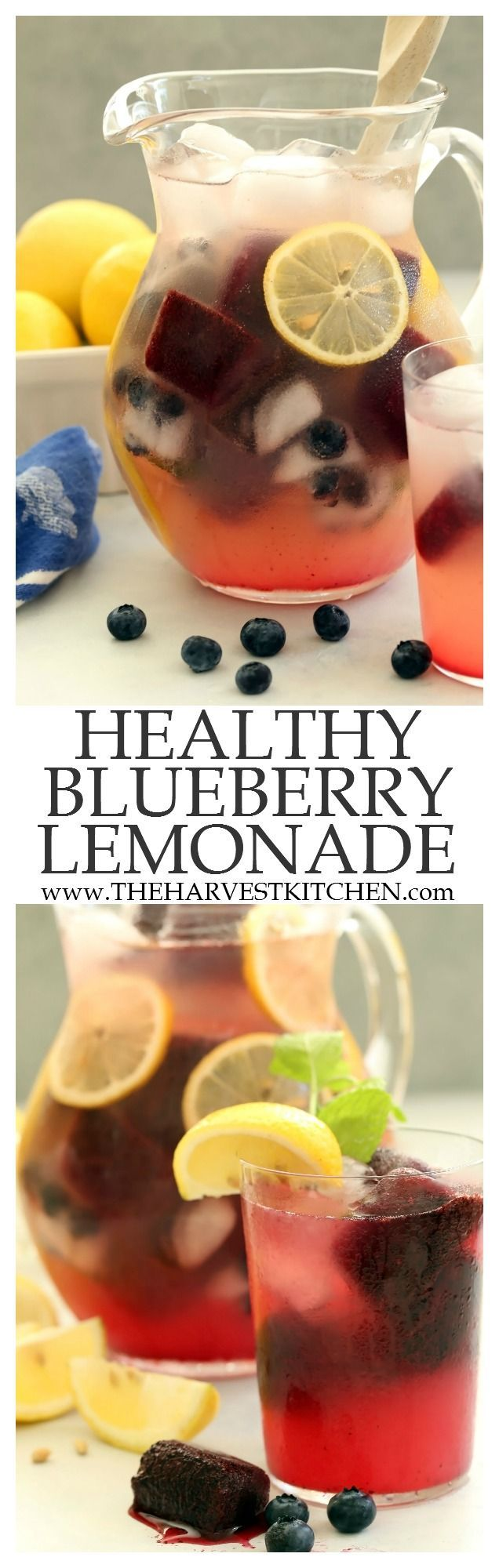 This Healthy Blueberry Lemonade is a perfect way to beat the summer heat! It's refreshing and delicious, lightly sweetened with honey and loaded with antioxidant properties. | detox drink recipes | | sugar-free lemonade | | honey sweetened lemonade | | clean eating | | healthy recipes |