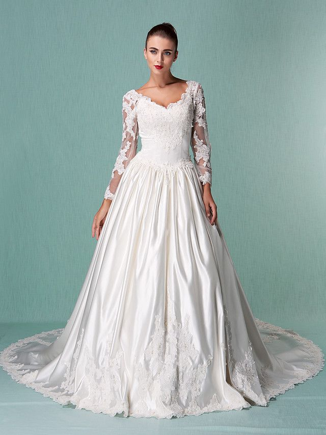 Ball Gown V Neck Cathedral Train Satin Tulle Wedding Dress