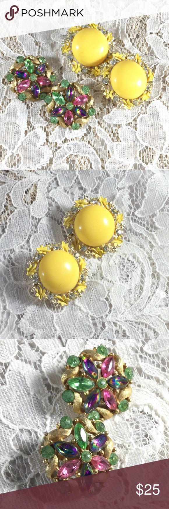 Vintage Bundle 2 Gold Tone Clip Earrings First pair is a yellow lucite cabachon encircled by alternating yellow enamel flowers and clear rhinestones.  Second pair is a flower with green pink, and watermelon heliotrope petals encircled by brushed gold flames and 5 green rhinestones. Sweet!! Vintage Jewelry Earrings