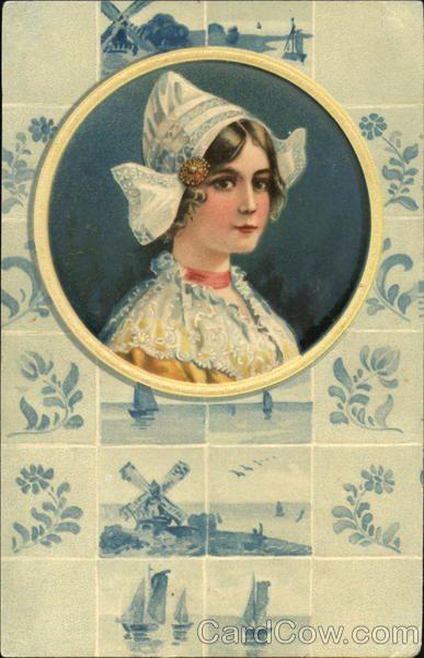 Dutch Womanon a vintage postcard