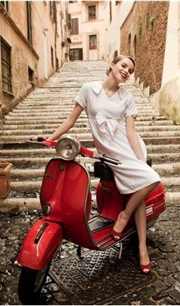 Rome + red vespa + white dress + red shoes = Valerie fantasy land