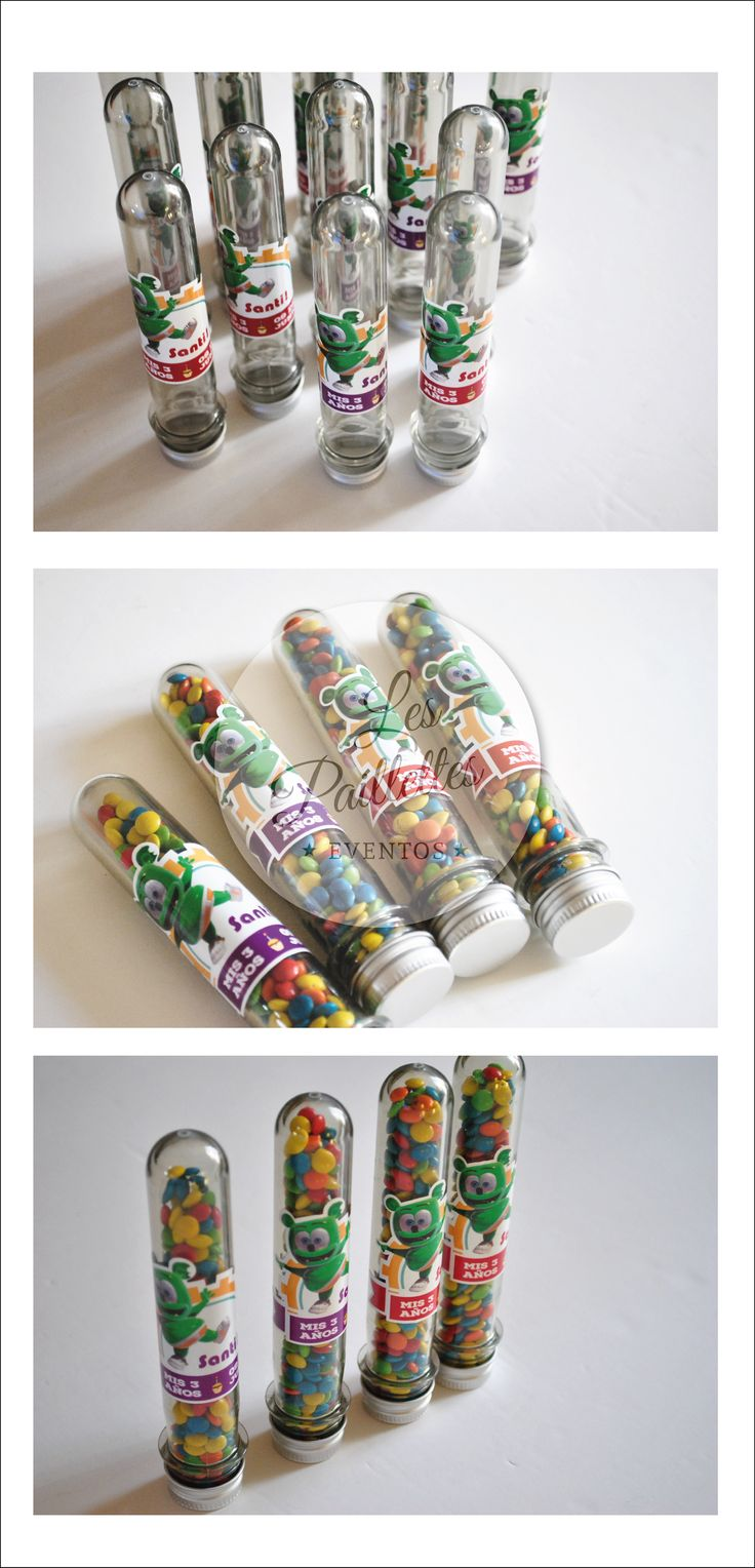 Tubos Golosieros Personalizados. Temática:  Osito Gominola #tubos #golosinas #candybar #minirocklets #pastillas #party #souvenir