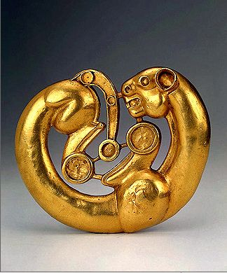 (Russia) Scythian Gold Plaque in the Form of a Panther curved round Gold. circa 7th-6th century BCE. South-Western Siberia, area between the Rivers Irtysh and Ob, Russia.