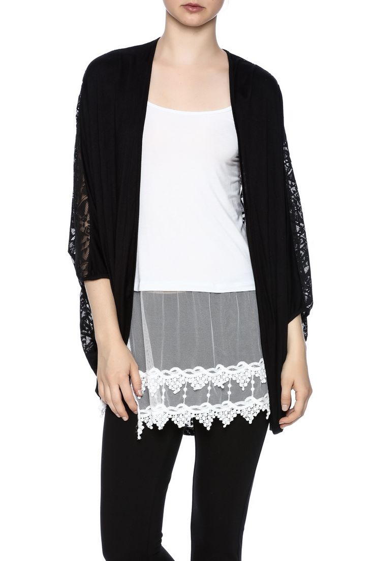 Slouchy open cardigan with an Aztec laceback and3/4 dolman sleeves.   Lace Dolman Cardigan by My Beloved. Clothing - Sweaters - Cardigans Idaho