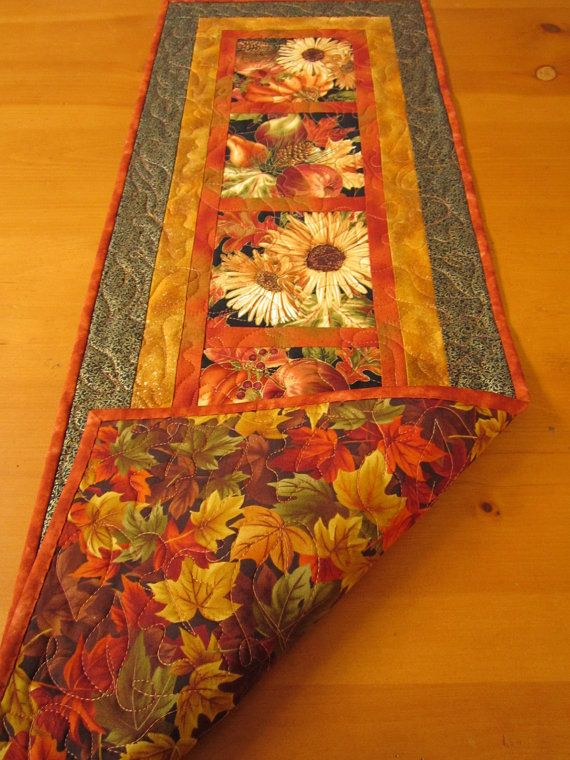 Thanksgiving Table Runner, Fall Harvest Quilted Table Runner, Fall Table Runner, Autumn Table Runners