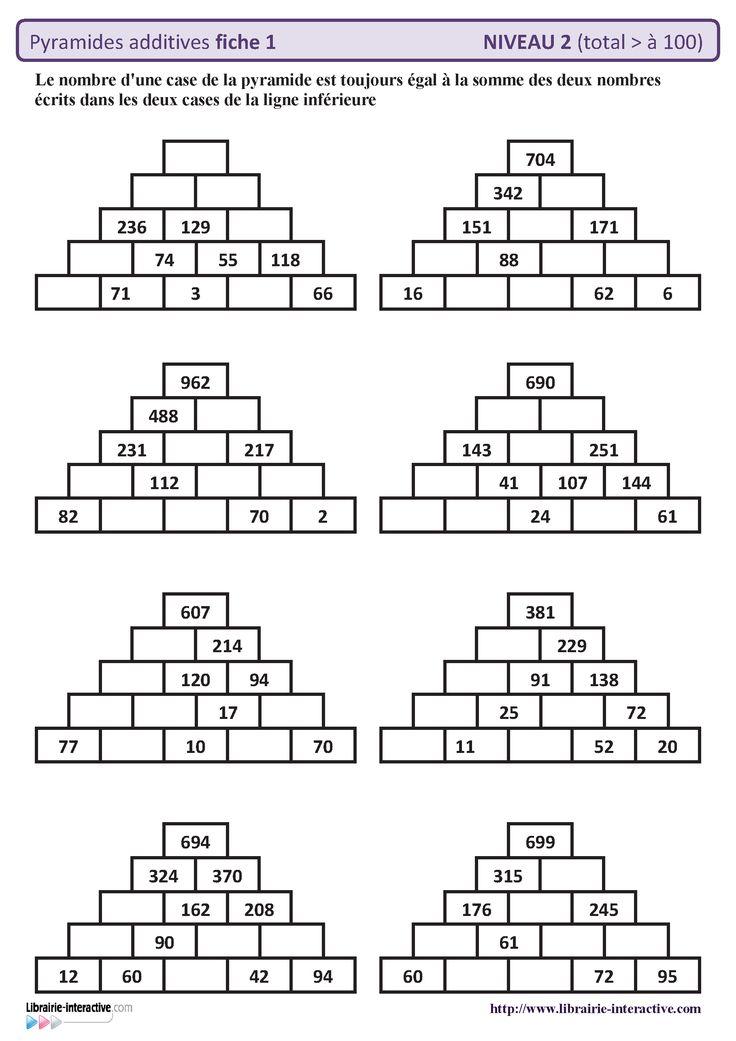 10 fiches autocorrectives avec des pyramides additives de for Tables de multiplications cm1