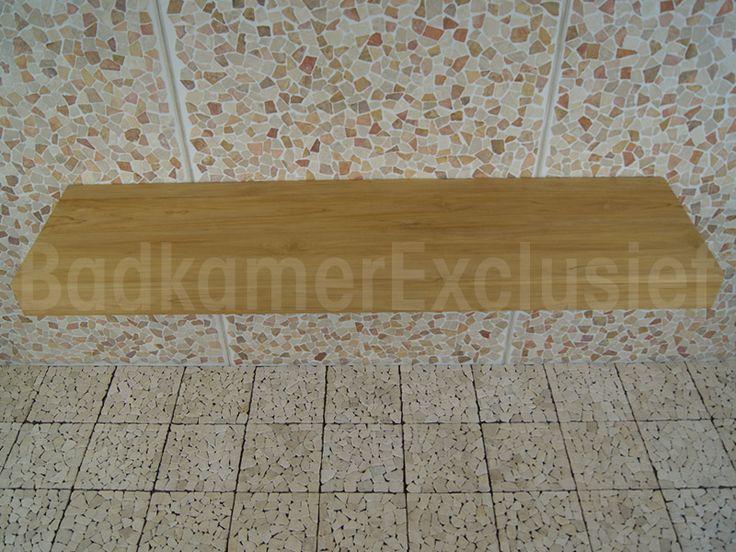 Wastafel teakhout Organic 200 cm (boven)