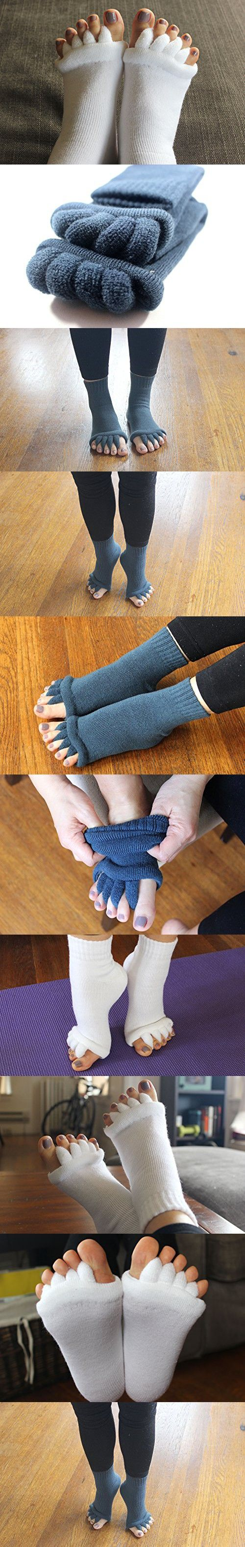Toe Separator Massage Socks for Foot Alignment, Great for Sore Feet and Diabetics by TRiiM Fitness with FREE Exercise guide!