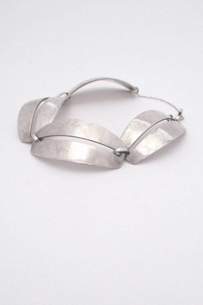Georg Jensen, Denmark - vintage silver panel link bracelet #170 by Nanna Ditzel