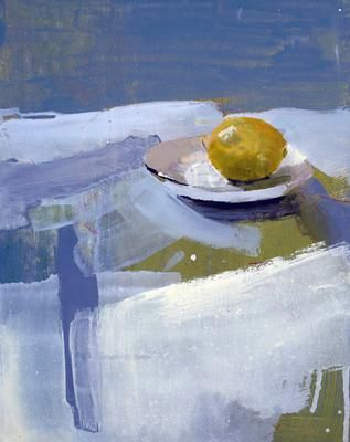 유 Still Life Brushstrokes 유 Nature Morte Paintings - Lemon & Saucer #2 by Susan Ashworth