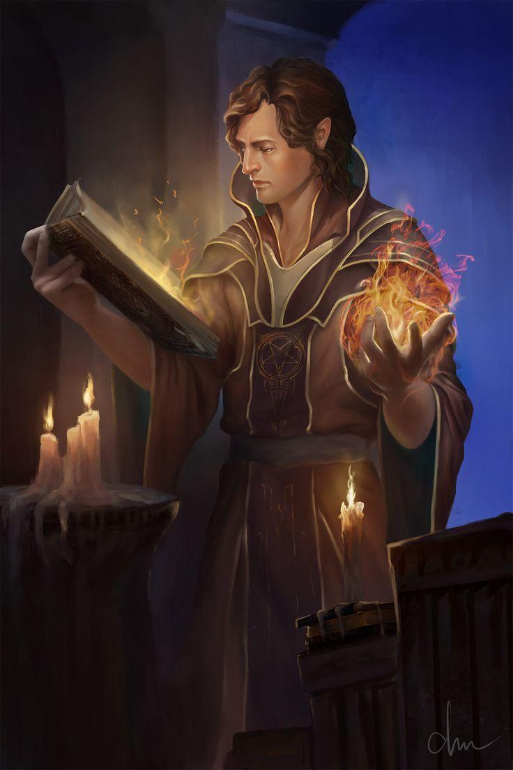 Half-Elf Wizard - Pathfinder PFRPG DND D&D d20 fantasy