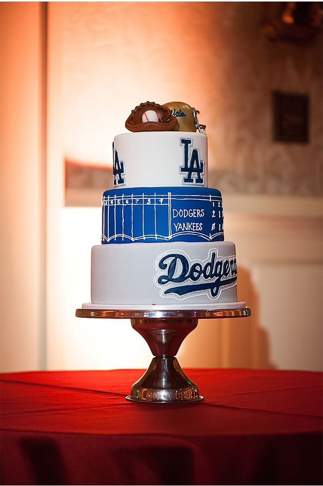 LA Dodgers Groom's Cake | A Red and Black Wedding at Montage Laguna Beach Photographed by Scott A Nelson Photography