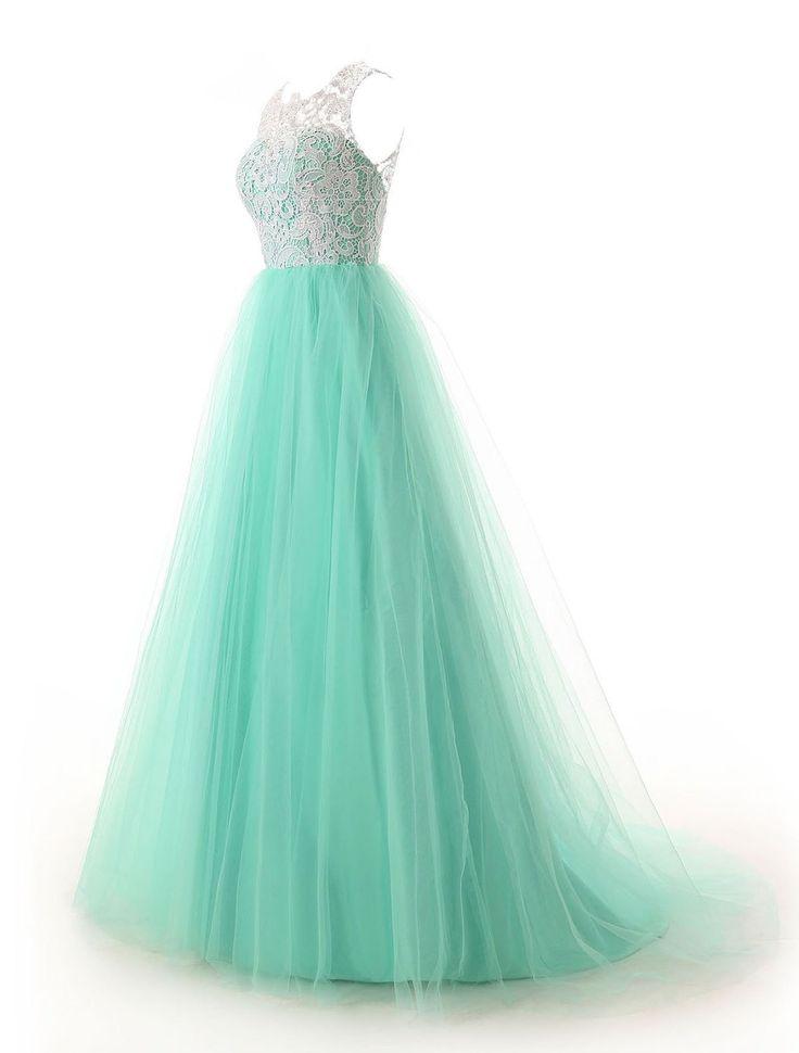Dressystar Damen Lang A-Linie Tüll Abendkleid Ballkleid Party Kleider Blau in Größe 32