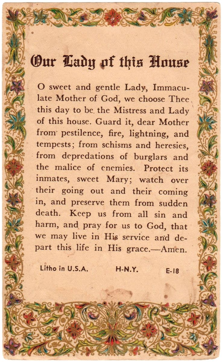 Our Lady of this House An American holy card with a prayer to Mary for the…