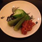 OKU - 料理写真:先付 蛇腹きゅうり ミニオクラ 金山寺味噌添え