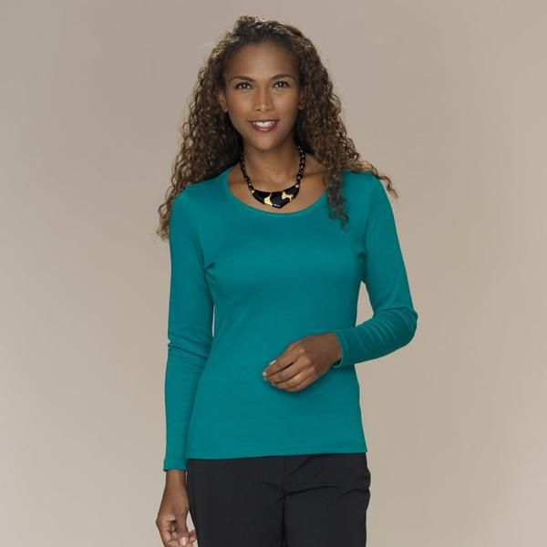 Attractive semi-fitted scoop neck top with long sleeves.   100% silky soft Pima Cotton  SaveSaveSave
