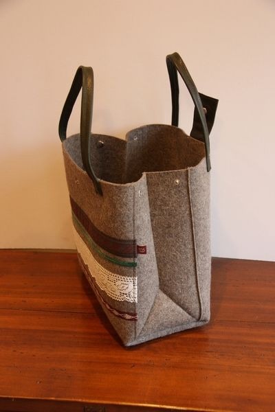 Einkaufstaschen - Filztasche 'Tracht - Flaschengrün' - ein Designerstück von Schoepf bei DaWanda