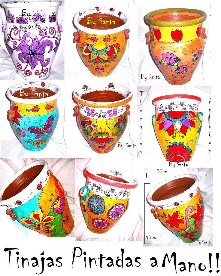 MACETONES, TINAJAS Y ANFORAS DE ARCILLA Y BARRO COCIDO, PINTADAS ARTESANALMENTE A MANO https://www.facebook.com/BySanta.Arte
