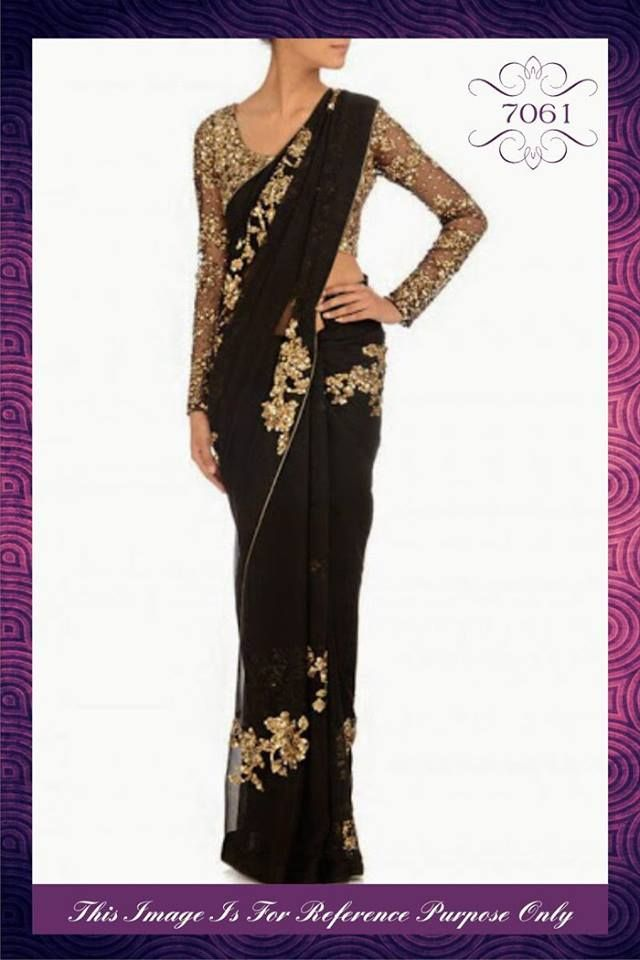 """""""Sarees for 2499/-"""" Pls call/whatsapp +919600639563. Code: saf rpblack Price: 3050/- Material: Georgette saree with designer blouse. For booking and further details pls call or whatsapp us at +919600639563. Happy shopping y'all :) Be Beautiful :)"""