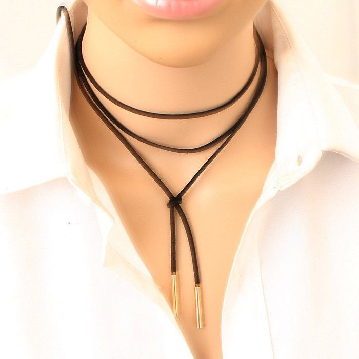 black leather necklace elegant Fashion Long Rope collier