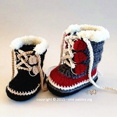 "Premium Pattern - Baby Sorel Boots | Today's Feature on CrochetSquare.com ~ pattern can be purchased on Ravelry for $5 USD ~ adorable! ~ NB to 12 mos. ~ great shower gift or ""just because"" they are too cute!"