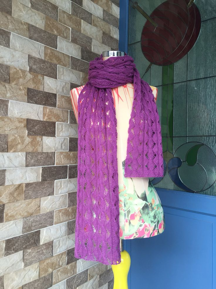 "96"" of cable lacey scarf.. Made by Intan Prameswari"