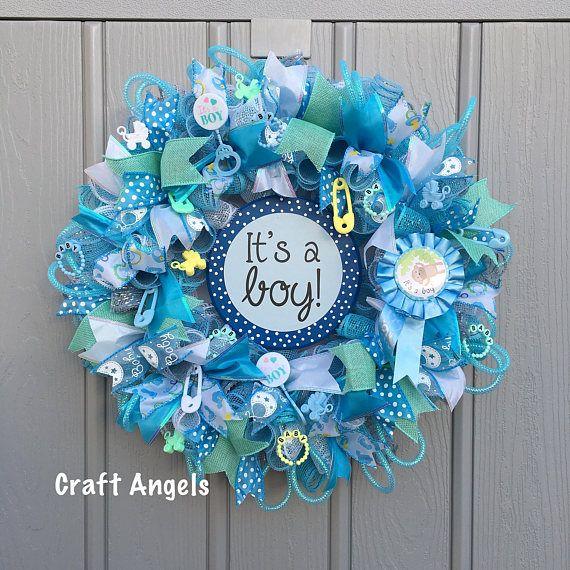 It's a boy wreath, baby boy wreath, baby shower wreath, nursery wreath, deco mesh blue wreath, baby shower gift, front door wreath.