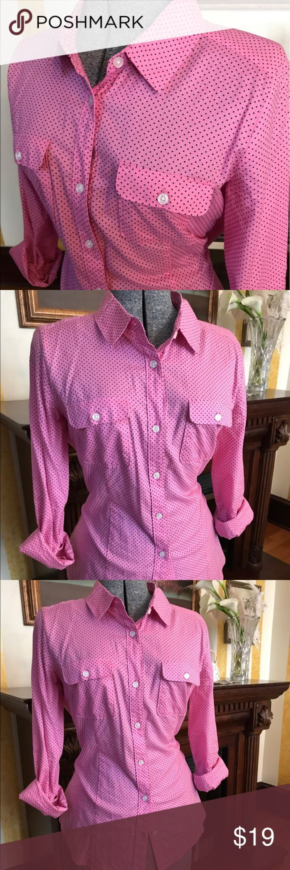 Anne Taylor Loft Blouse size Medium Super cute pink with black polka dot! Great for casual wear and the spring/summer time! Anne Taylor Loft Tops Button Down Shirts