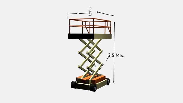 Modelo 3D de un elevador mecánico de carga