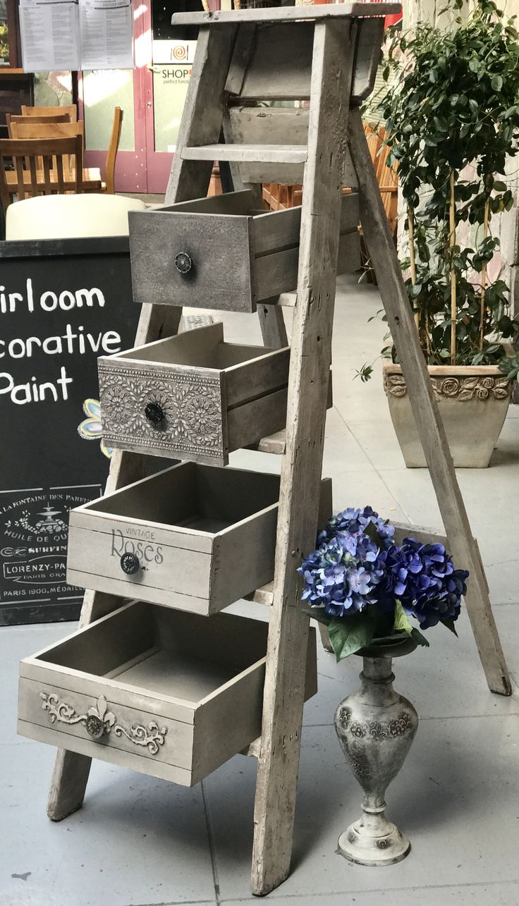 Upcycled ladder and drawer shelf using Heirloom Decorative Paint.