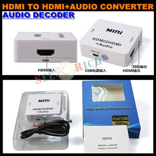 1080P HD MINI HDMI to HDMI+AUDIO Video Converter Decoder Adapter Remove HDCP KEY Agreement Audio Separator with USB Cable