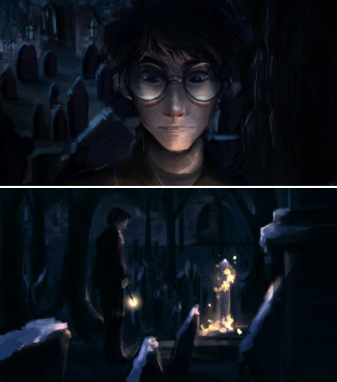 I feel like Harry would have gone back to Godric's Hollow the Christmas after the Battle of Hogwarts, just to say Merry Christmas. by http://dreamsoffools.tumblr.com/